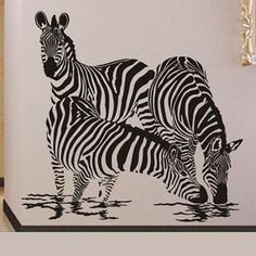 105X100CM Three Zebra Drinking Water  Nature Vinyl Wall Paper Decal Art Sticker Q117. $25.88, via Etsy.
