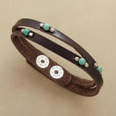 """Lustrous leather is sliced right down the middle, bisecting beaded turquoise spheres. Handcrafted Sundance exclusive with two-snap closure. 6-1/2"""" to 7-1/2""""L."""