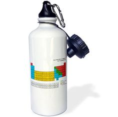 3dRose wb_76644_1 Periodic TableAcademic Educational Gift for Science Fans Chemistry Physics Red Green Blue Yellow Sports Water Bottle 21 oz White >>> More info could be found at the image url.