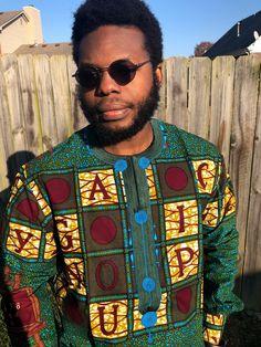 TEAL MENS SHIRT, Long Sleeve Embroidered African Print Shirt