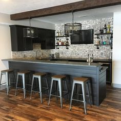 Does your basement serve no other purpose than to hold your neglected treadmill, the bedroom furniture you replaced several years ago, as well as the . Basement Bar Plans, Basement Bar Designs, Home Bar Designs, Basement House, Basement Makeover, Basement Kitchen, Basement Renovations, Home Remodeling, Basement Ideas