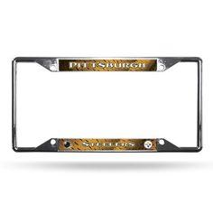 Pittsburgh Steelers License Plate Frame Chrome EZ View #PittsburghSteelers