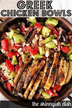 One of the most flavorful meal prep recipes around are these easy and healthy Greek Chicken Bowls. Delicious warm chicken dressed with the greek tastes we all love; olives cucumbers olive oil feta and more. Youll love this fresh and delicious meal! Comida Keto, Health Dinner, Mediterranean Recipes, Mediterranean Chicken, Natural, Meal Planning, Cooking Recipes, Thm Recipes, Cupcake Recipes