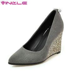 4d231d7edd9 VINLLE 2017 Women Pumps Flock Spring Autumn Night Club Shoes Wedges High Heel  Women Shoes Elegant Bling Shoes Big Size