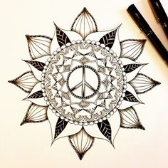 black peace tattoo - Google Search Mandala Tattoo Design, Mandala Art, Mandala Tattoo Mann, Mandala Flower Tattoos, Flower Tattoo Designs, Flower Mandala, Peace Tattoos, Life Tattoos, Tattoos For Guys
