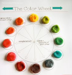learning about the color wheel with a free printable and mixing play-doh colors.