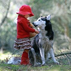 Little Red Riding Hood _Girl and Husky