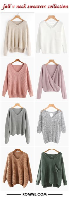 v neck sweaters collection from romwe.com