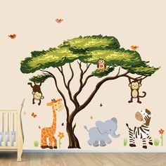 Arbre africain avec Jungle animaux mur autocollant, Stickers muraux, tissu repositionnable (African Safari Sunset)