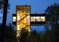 This holiday home in upstate New York by US firm Gluck+ features an elevated living room that hovers nine metres above the ground.