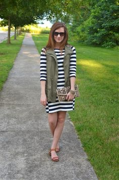 striped dress and utility vest