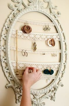 Like the idea of using lace for earrings since it would last longer than cork board.