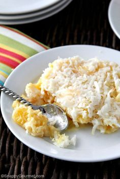 15 Ridiculously Easy Dump Cakes You Can Make in a Flash- Pina Colada Dump Cake- Go for a tropical twist with pineapple and coconut flavors. Get the entire recipe and more delicious dessert ideas at redbookmag.com.