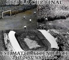 The 1923 FA Cup Final between Bolton Wanderers and West Ham United on 28 April at Wembley Stadium.