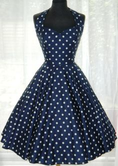 Vintage/50s/Rockabilly Halter Style Polka Dot by BadlyBehavedBetty, £80.00