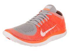 wholesale dealer bbf43 da03e Nike Men s Free Flyknit 4.0 Wolf Grey White Ttl Orange Vlt Running Shoe 9  Men US