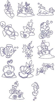 Embroidery Underwater critters, part Free Embroidery Designs, Sweet Embroidery, Designs Index Page Colouring Pages, Coloring Books, Machine Embroidery Designs, Embroidery Patterns, Cross Stitch Embroidery, Hand Embroidery, Baby Motiv, Doodle Drawings, Digital Stamps