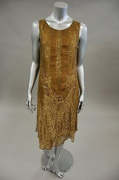 Gold lace flapper dress, late 1920's. Image via Kerry Taylor Auctioneers.