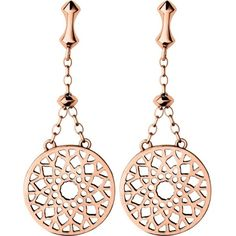 LINKS OF LONDON Timeless 18ct rose-gold vermeil earrings ($210) ❤ liked on Polyvore featuring jewelry, earrings, cut out jewelry, disc drop earrings, links of london, disc earrings and fish hook jewelry