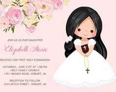 Girls First Communion Invitation, First Communion Invitation, Printable Communion Invitation, Pink First Holy Communion Invitation First communion girl invitation First communion invitation Holy Communion Invitations, Baptism Invitations, First Communion Dresses, First Holy Communion, Invitation Design, Invitation Wording, Party Printables, Pink, Place Card Holders