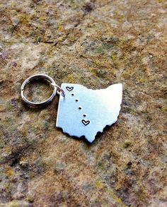 CUSTOM Long Distance Relationship KEYCHAIN USA or by Nelliebead