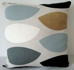 Geometric retro duck-egg blue, brown, black and grey cushion cover, contemporary designer fabric slip cover, throw pillow-for bedroom Brown And Blue Living Room, Living Room Grey, Living Room Sofa, Home Living Room, Brown And Grey, Living Room Designs, Blue Grey, Duck Egg Blue Bedroom, Blue Gray Bedroom