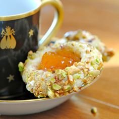 Apricot Cardamom Thumbprints with Pistachio and Crushed Rose Petals