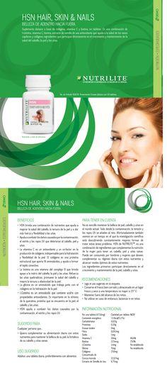 HSN Amway Nutrilite, HSN HSN contiene ingredientes que pueden ayudar a mantener el cabello, la piel y las uñas hermosas, al incrementar la ingesta de nutrientes que contribuyen a conservar un cabello y uñas saludables.  Además.contiene colágeno, componente importante de la piel, que ayuda a su humectación, suavidad y elasticidad.  www.naturalesnokua.com.co
