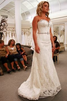A gorgeous strapless lace dress with beading and crystals that was featured on Say Yes to the Dress. {Pnina Tornai}