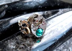 Steampunk Ring  Vintage Clockwork Watch Movement & by Jamlincrow, £25.00