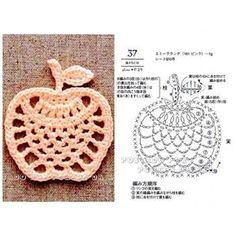 filet crochet New Fruit Pattern Charts Ideas Motif Mandala Crochet, Crochet Coaster Pattern, Crochet Motifs, Crochet Stitches Patterns, Crochet Chart, Thread Crochet, Crochet Apple, Crochet Fruit, Crochet Flowers