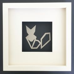 Fox in grey and navy, white frame! Added to Geometric Animal Collection! https://www.etsy.com/uk/listing/294444815/geomtric-animals-collection