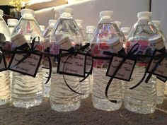 Bachelorette party favors- bottle of water, decorative duct tape to cover label, and Advil. Tag says: You may need these tomorrow! Thanks for coming!