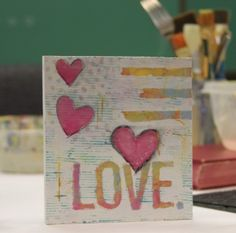 """Love."" Encaustic Mixed Media piece by LAR Art"