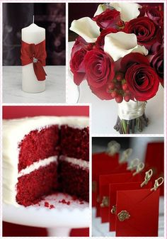 Unique Christmas Wedding Ideas - Red Roses and while callas, red velvet cake, satin ribbon around inexpensive white candle.