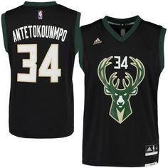 Men s Milwaukee Bucks Giannis Antetokounmpo adidas Black Alternate Replica  Jersey a838f5cc1