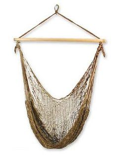 Hammock swing, 'Autumnal Bronze' by NOVICA