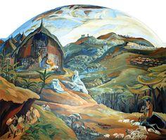 Elimo Njau, The Nativity, from the Jesus Mafa Murals Nativity Painting, Advent Season, Tanzania, Kenya, Christian Art, African Art, Wall Murals, Worship, Christianity