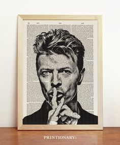 David Bowie Print Rock Music Poster Black White Aladdin Sane Illustration Engraving Art Upcycled Decor Book Dictionary A4 8.3 x 11.7 in