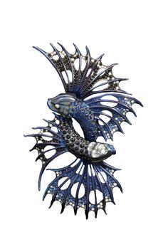 Stephen Webster Jewels Verne One of a Kind Titanium fighting fish brooch High Jewelry, Jewelry Art, Fashion Jewelry, Jewlery, Ocean Jewelry, Ethnic Jewelry, Insect Jewelry, Animal Jewelry, Marine Style