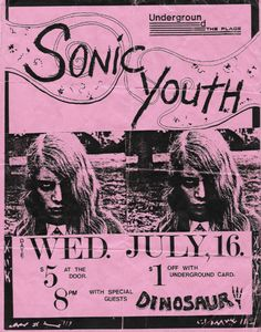 Sonic Youth/Dinosaur Jr gig poster from 1986 Tour Posters, Band Posters, Concert Rock, Arte Punk, Dinosaur Jr, Concert Posters, Gig Poster, Poster Prints, Movie Posters