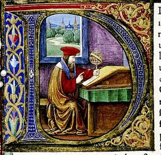 """D"". Pliny seated in study. Italian. detail. Douce Pliny. 1476 bodl_Douce310"