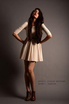 Photo by Claire Bartram. fashion photography; pose; model; studio; cream dress; model portfolio;
