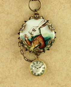 White Rabbit Necklace Alice in Wonderland Pocket Watch Brass Filigree Vintage Style Altered Art on Wanelo