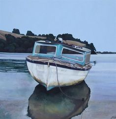 Jane Puckey -  Old boat at Ti point across from Omaha 914x914mm $6,000.00 <a href=http://montereyartgallery.co.nz>Sold by Monterey Gallery</a>