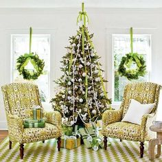 beautiful christmas tree with wreaths