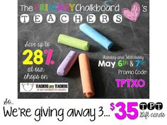 Primary Chalkboard: TpT Gift Card Giveaway