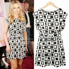 Vintage Black White #Plaids Checks Sleeveless #Womens Casual Tunic Mini #Dress