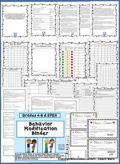 This is a behavior modification binder with all you will need to help improve behavior in a positive way, can be used for grades 4-8 and sp.ed. This is a growing bundle, if you think of anything else that you would like to see added, please let me know you may email me at deann.marin@gmail...