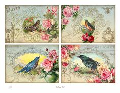 ANTIQUE CARDS I Digital Collage Sheet Romantic by GalleryCat
